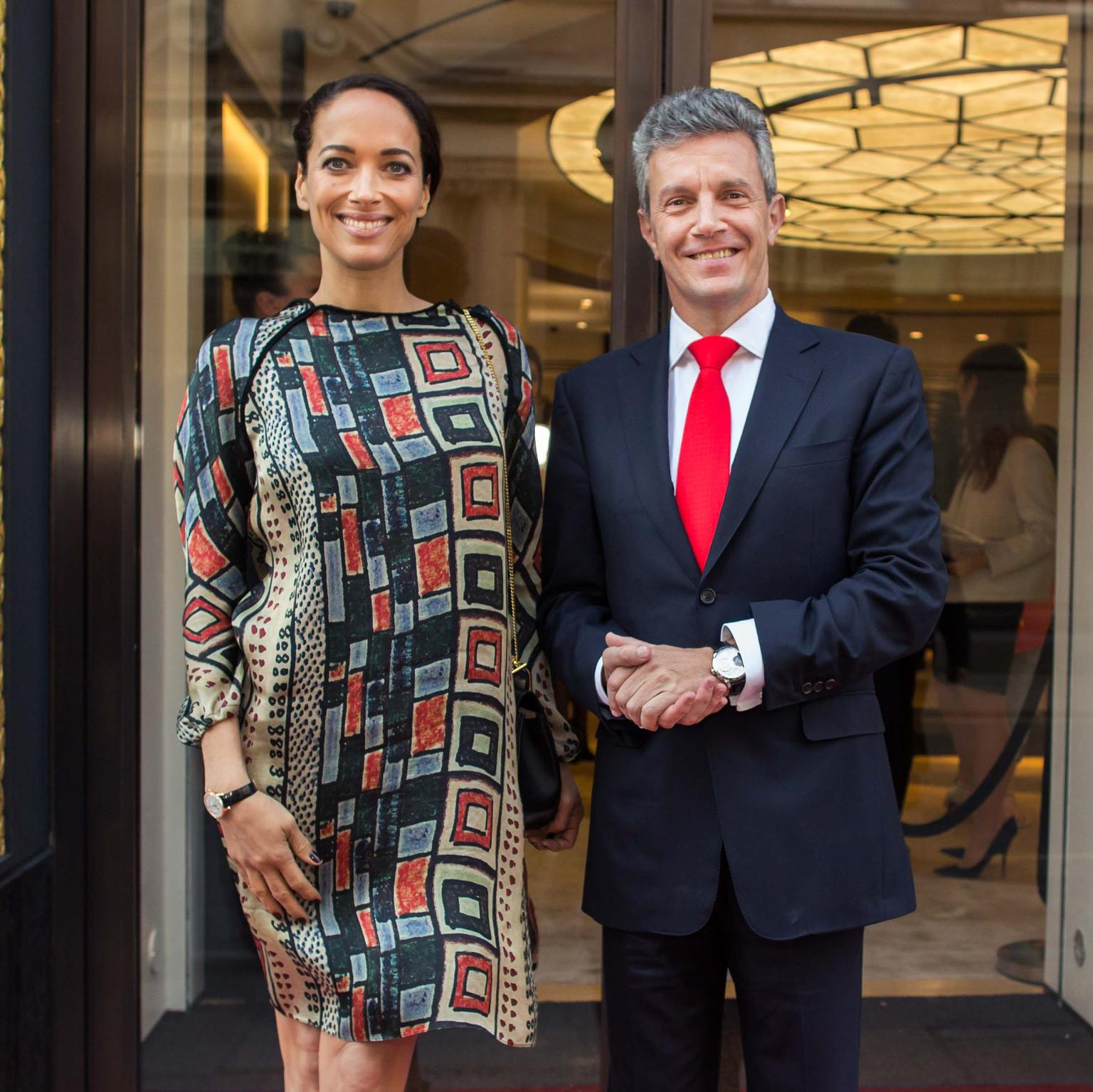 Actress Carmen Chaplin, who features in the luxury watch brand's new advertising campaign, with CEO of Jaeger-LeCoultre, Daniel Riedo, at the launch party in Mayfair.