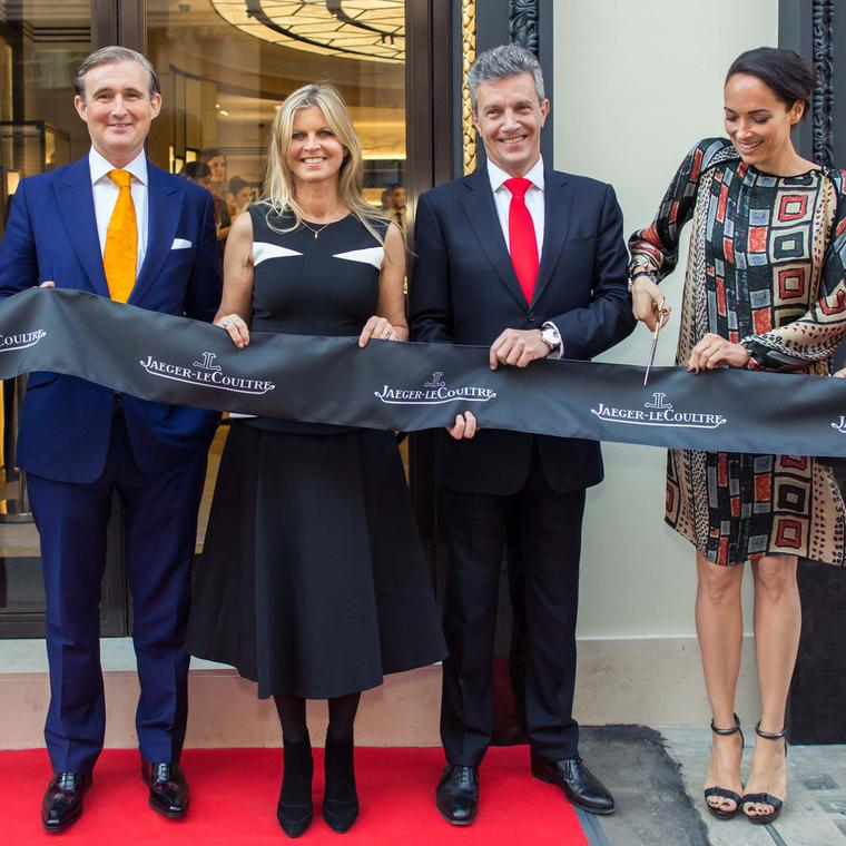 Interior designer Tim Gosling, polo player Clare Milford Haven and Jaeger-LeCoultre's CEO, Daniel Riedo, hold the ribbon as actress Carmen Chaplin cuts it, signalling the opening of Jaeger-LeCoultre's flagship London boutique.