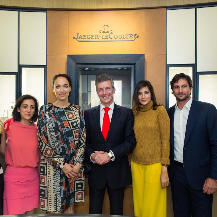 Jaeger-LeCoultre's UK brand director Zahra Kassim-Lakha, actress Carmen Chaplin, CEO Daniel Riedo, Astrid Munoz Astrada and Argentine polo player Eduardo Novillo Astrada at the opening of the watchmaker's new boutique in London.