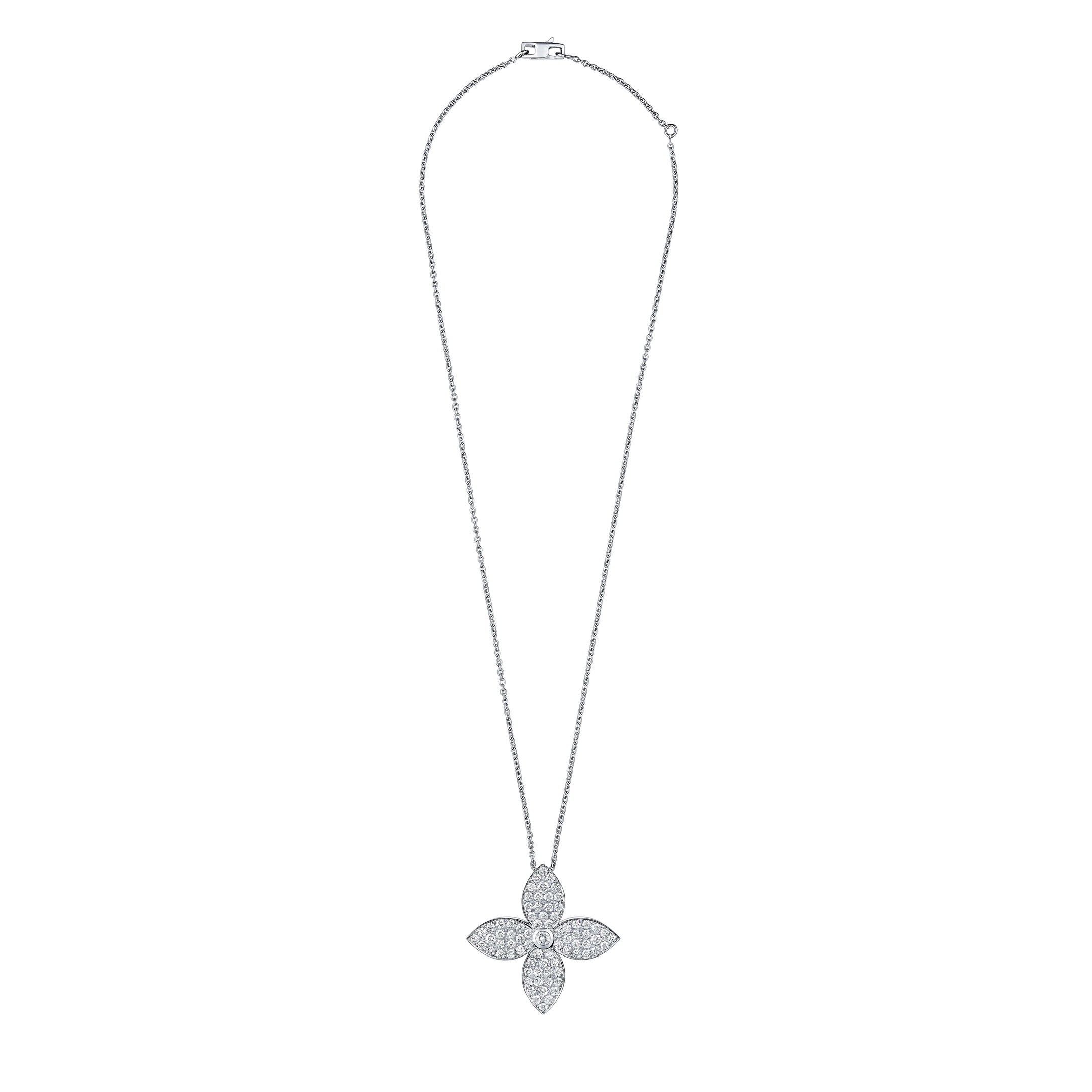 This Monogram Star pendant necklace recreates the iconic Louis Vuitton star-shaped flower in white gold and diamonds.