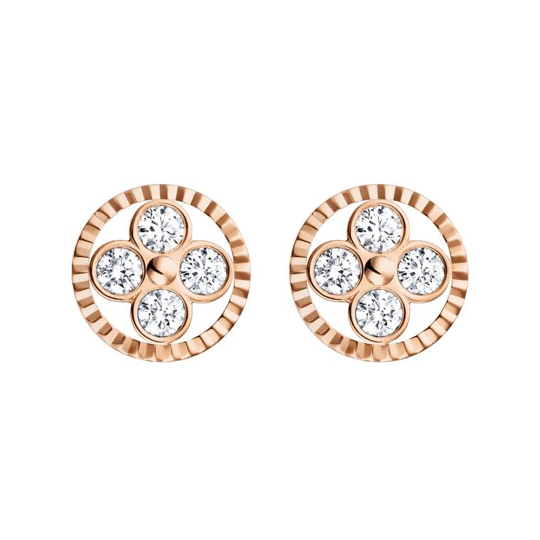 Louis Vuitton Monogram Sun earrings in rose gold. The circle surrounding the round-petal quatrefoil diamond flower is fluted to create a mirage of light.