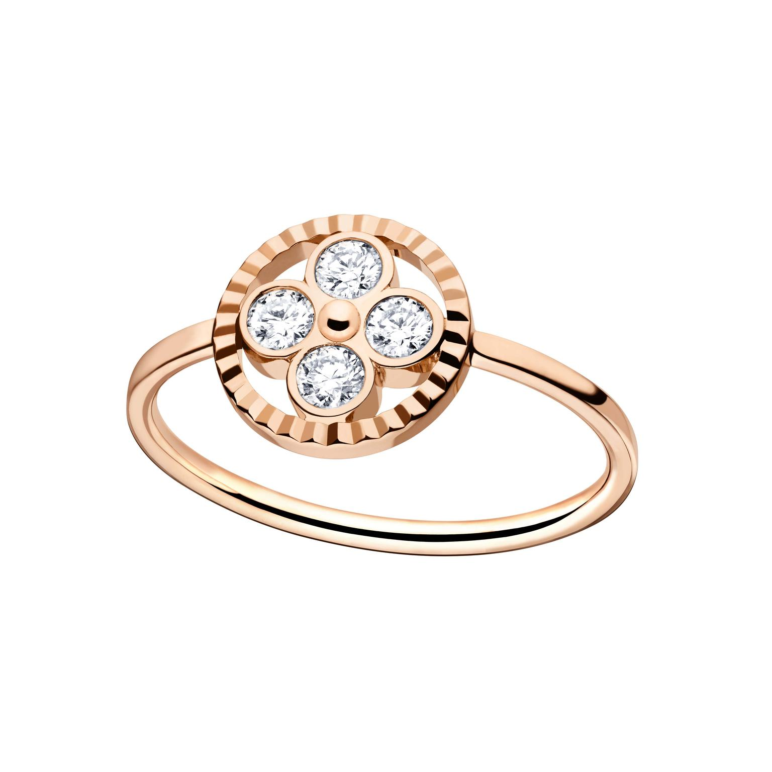 Louis Vuitton Monogram Sun ring in rose gold and diamonds.
