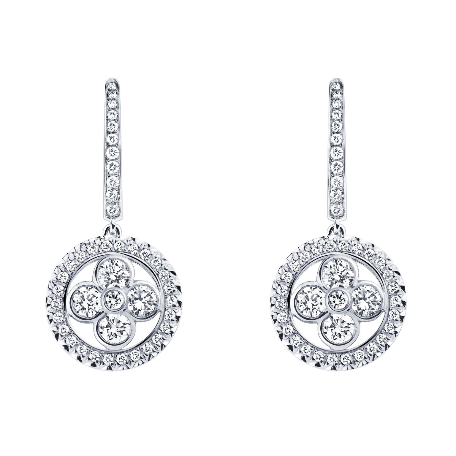 Louis Vuitton Monogram Sun earrings in white gold and diamonds.