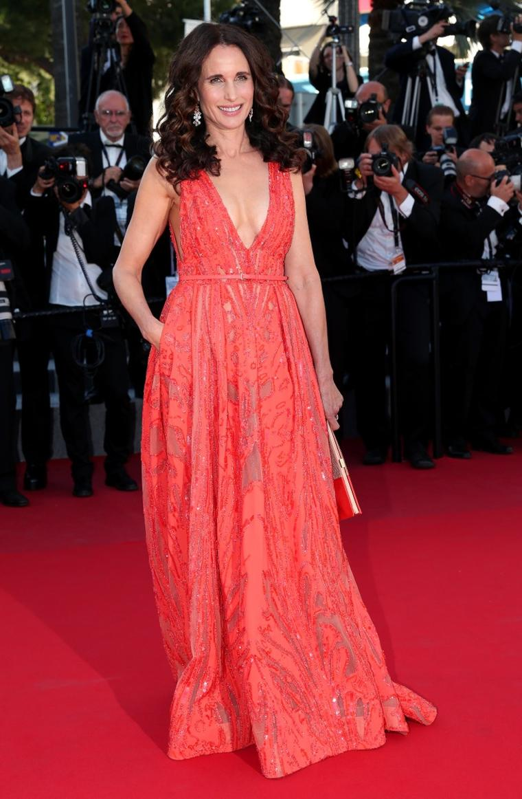 Andie MacDowell chose a Chaumet Hortensia ring in pink gold, pink opal, tourmalines and  sapphires for her Cannes red carpet moment this weekend.