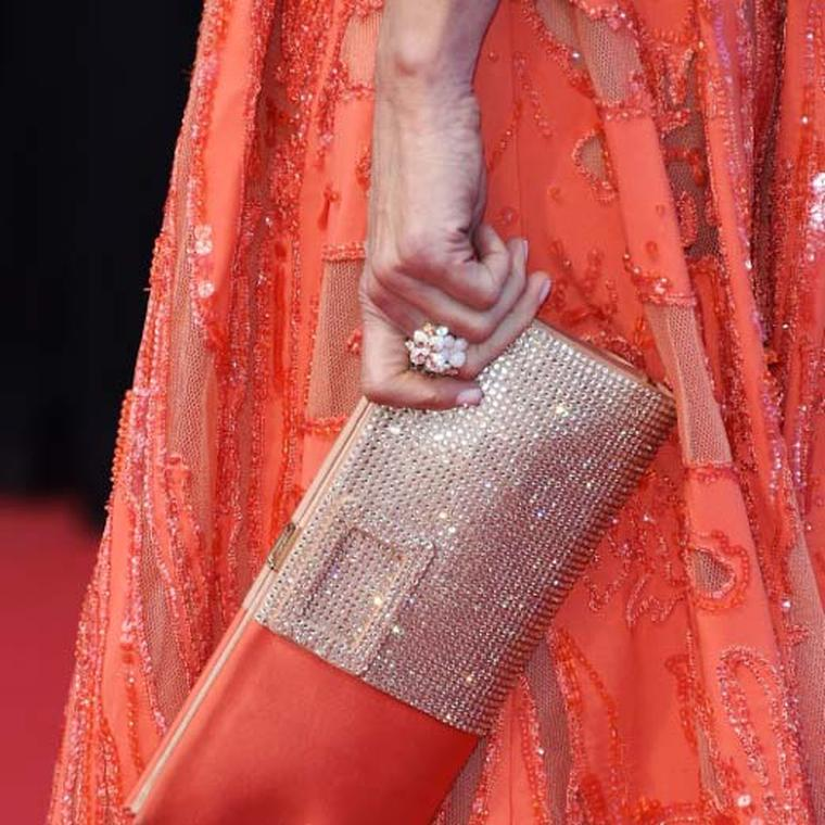 The Chaumet Hortensia ring with pink opal, tourmalines, sapphires and diamonds worn by Andie MacDowell at the Cannes Film Festival 2015.