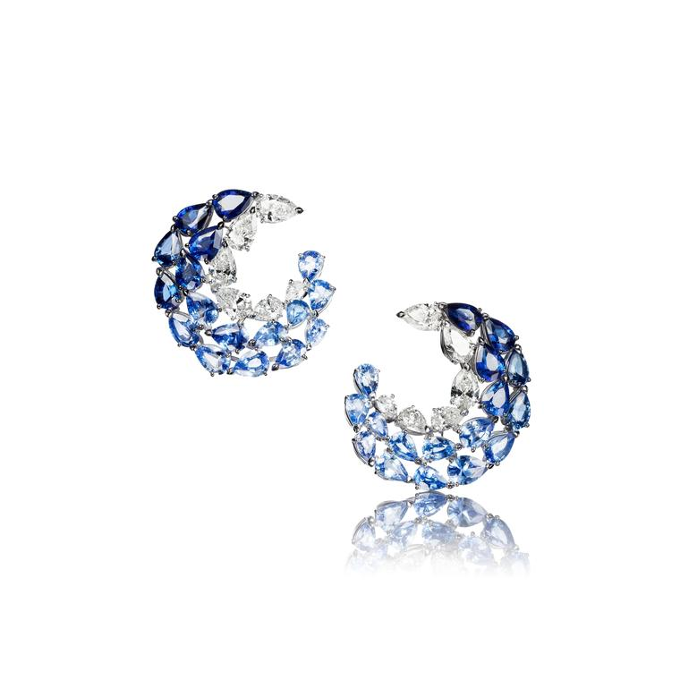 These high jewellery earrings from Adler's new L'Oiseau Bleu suite are set with 34 pear-cut blue sapphires and 12 pear-cut diamonds in white gold.
