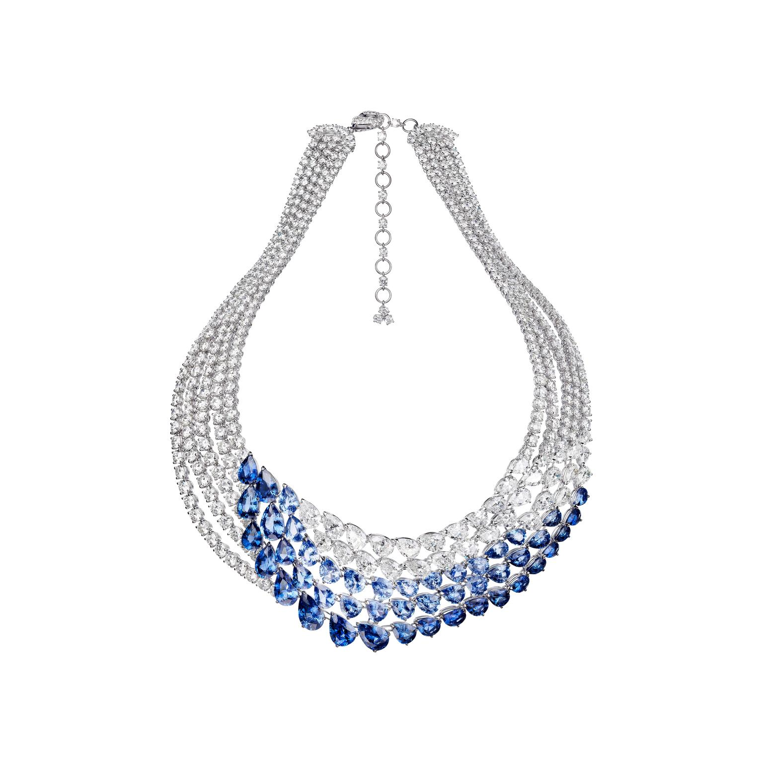 The new Adler high jewellery L'Oiseau Bleu necklace is set with 46 pear-shaped sapphires totalling more than 60ct in different tones of blue, which caress the neck along with a cascade of white diamonds.