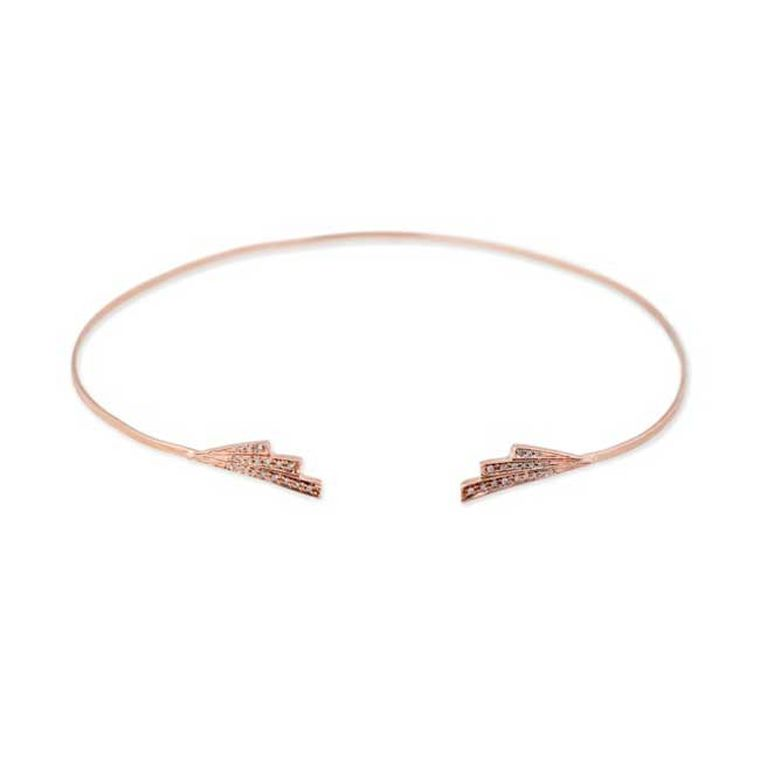 Jacquie Aiche Double Deco Wing choker in rose gold with pavé diamonds ($4,565).