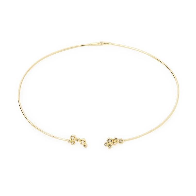 Maiyet Constellation open collar necklace in gold with diamonds ($10,500).