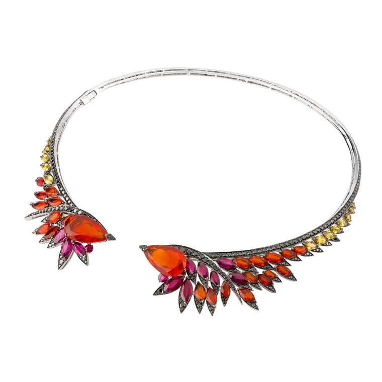 Stephen Webster Magnipheasant Plummage couture collar necklace in white gold set with black diamond pavé, marquise-shaped rubies, fire opals, yellow sapphires, and central pear-shaped fire opals ($80,000).