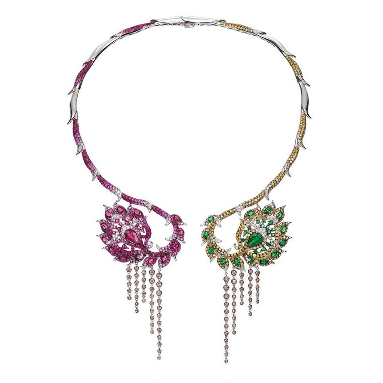 Wendy Yue open collar necklace with champagne diamonds, tsavourites, rubellite, pink sapphire, ruby, white diamonds and golden diamonds ($78,000).