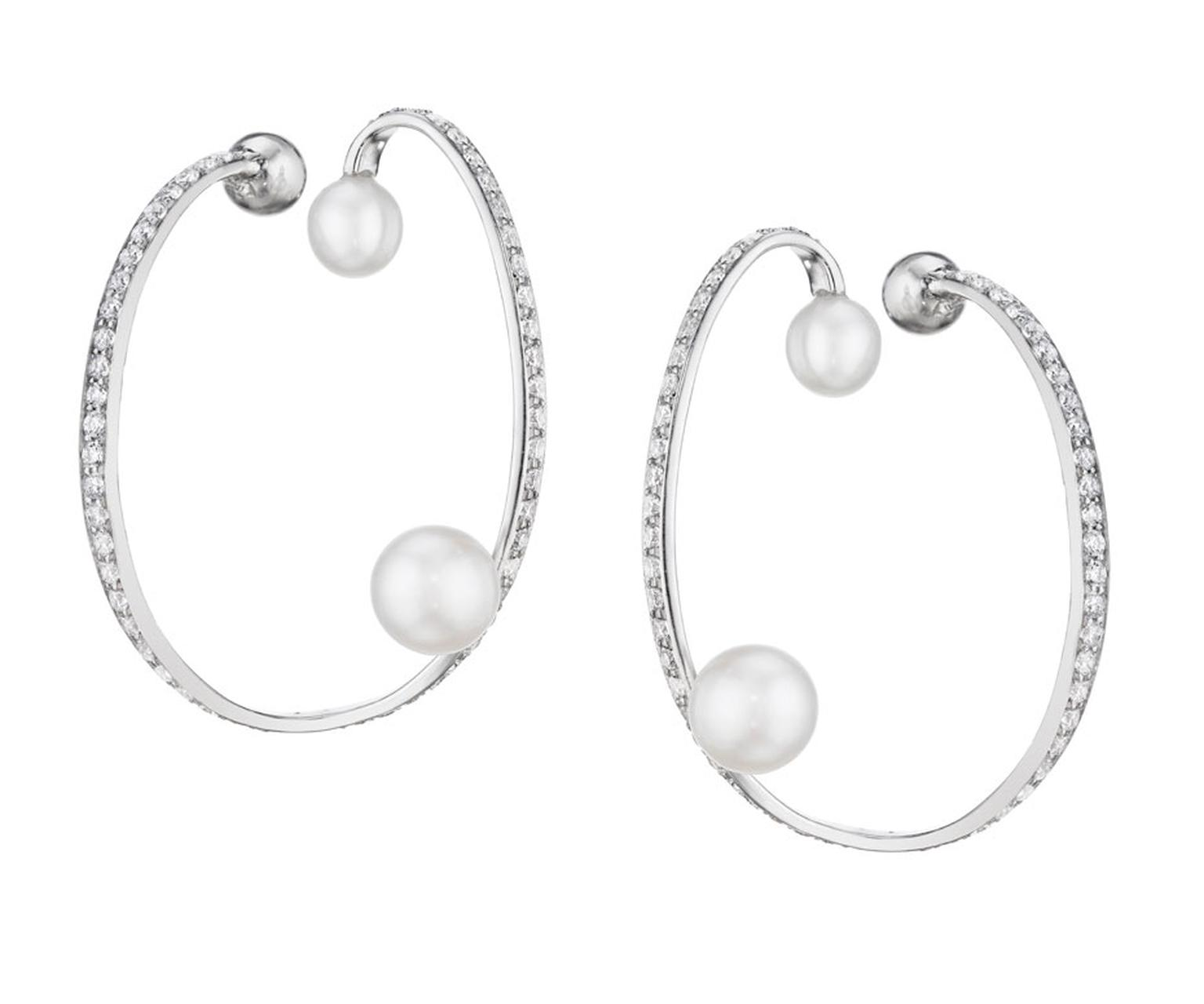 Lynn Ban Ellipse earrings in white gold with pearls and diamonds.