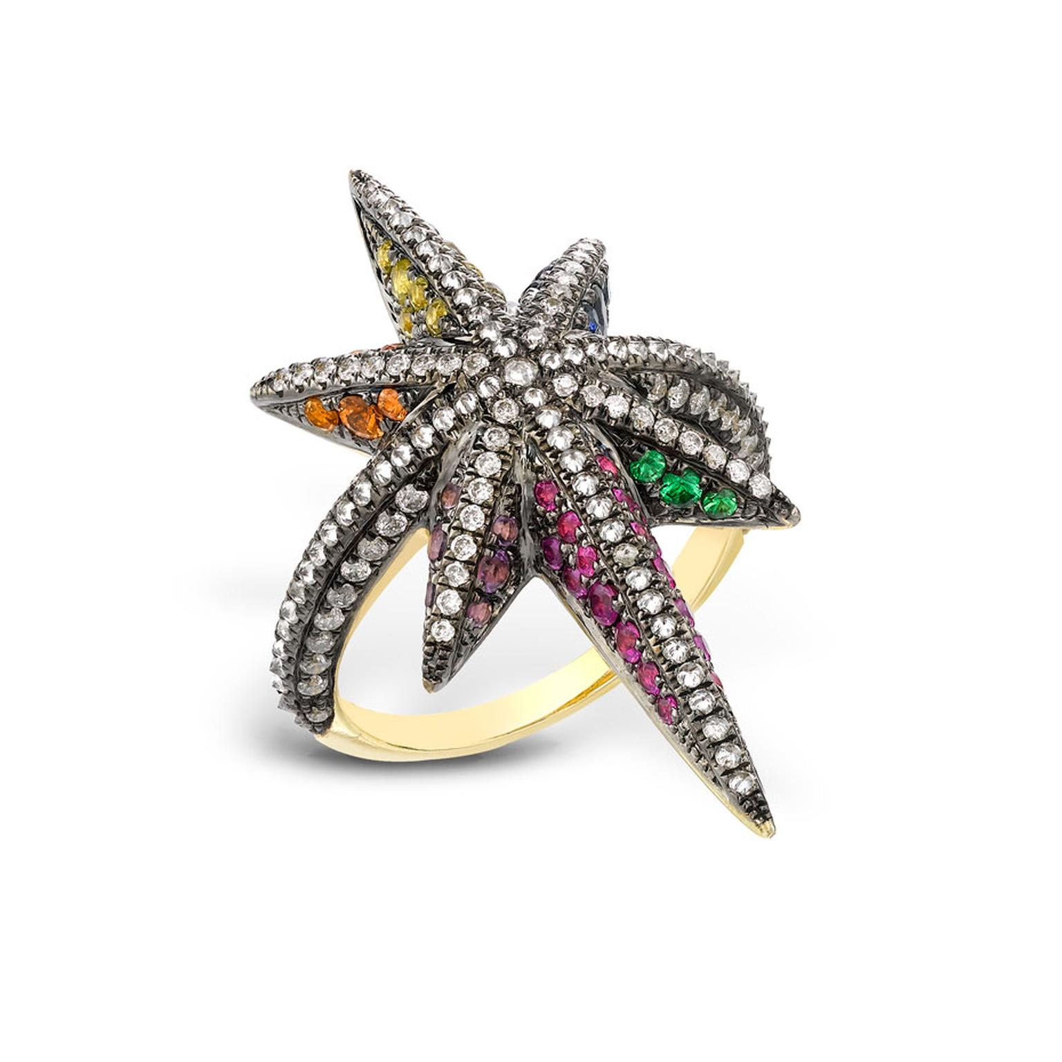 Venyx Theiya Star ring set with fancy color sapphires and diamonds.