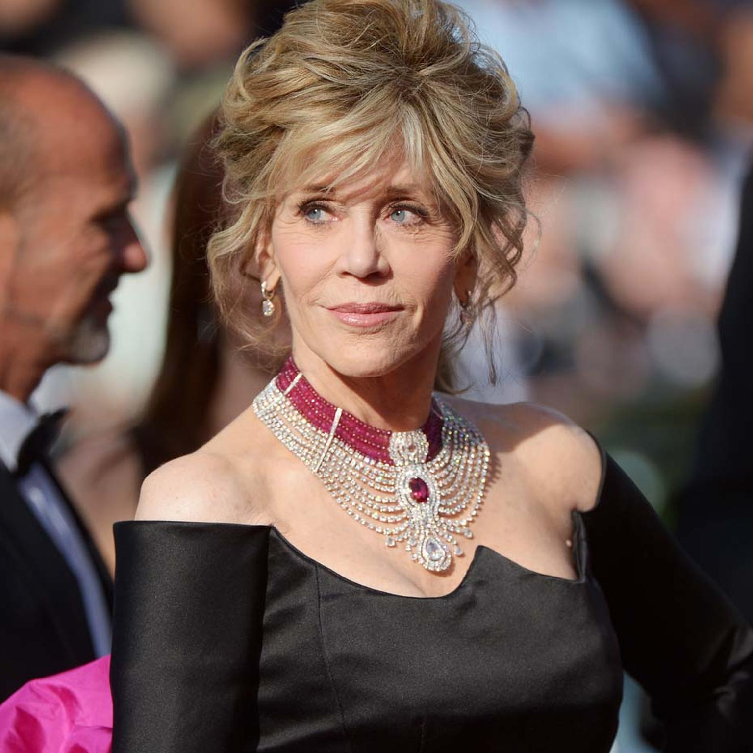 Jane Fonda gave actresses half her age a run for their money, sweeping down the Cannes red carpet for the premiere of her new film Youth wearing a stunning one-of-a-kind diamond and ruby Cartier necklace featuring a 15.29ct oval-cut Mozambique ruby.