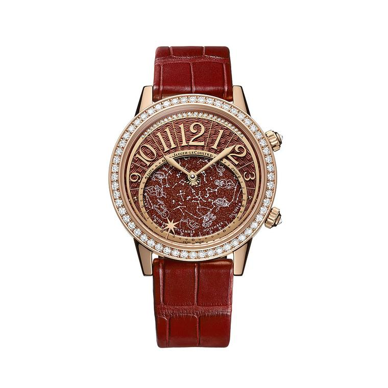 The Jaeger-LeCoultre Rendez-Vous Celestial watch pays homage to astronomical phenomena. Presented in a rose gold case decorated with brilliant-cut diamonds, with an alligator strap, a Bordeaux-coloured aventurine stone decorates the dial, with the hours a
