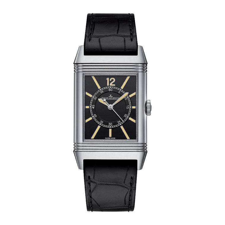 The limited Boutique Edition Jaeger-LeCoultre Grande Reverso 1931 Seconde Centrale watch features a 46.8 x 27.4mm white gold case and is presented on a black alligator strap with a white gold pin buckle. The black dial houses gold-powdered hour makers and