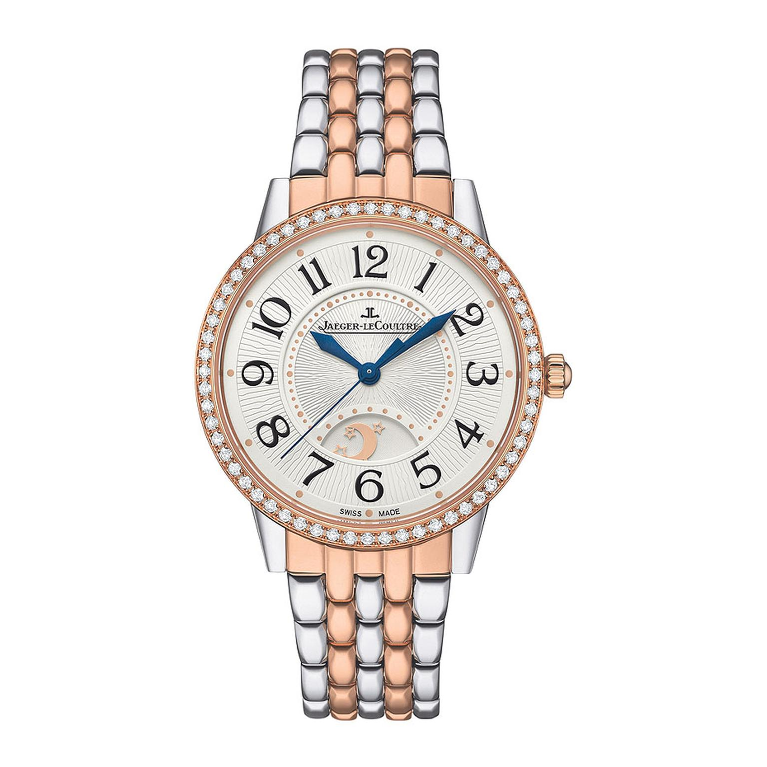 Jaeger Le-Coultre's new Rendez-Vous Night & Day ladies' watch is presented in a two-tone rose gold and stainless 34mm case and bracelet, with a silvered guilloché dial that features large 1930s-inspired numerals lit up by the diamond set bezel. It is fitt