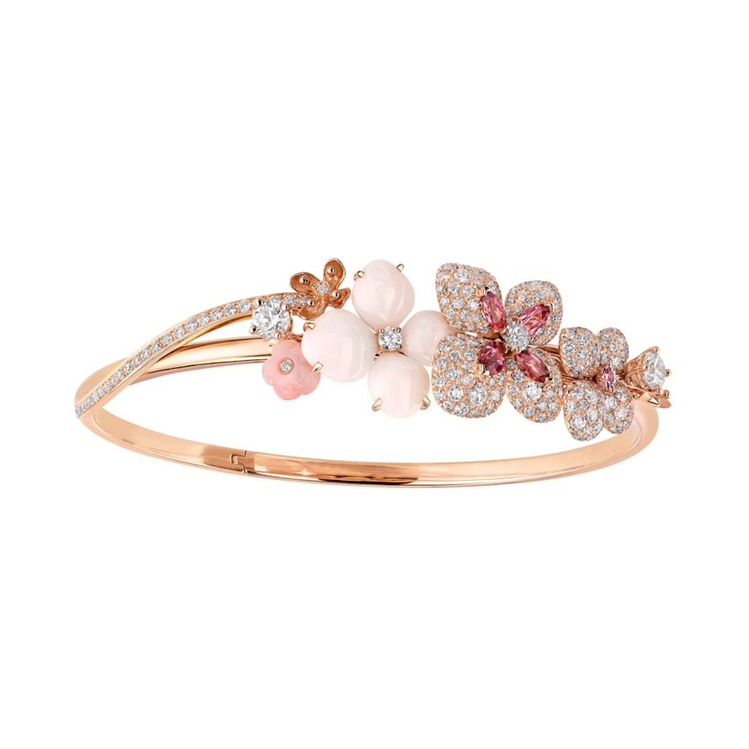 Chaumet Hortensia bracelet in pink gold, set with angel-skin, pink opals, pink tourmalines, a pink sapphire and diamonds.