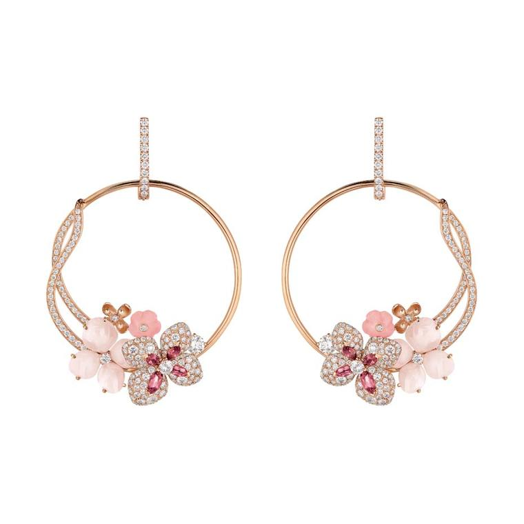 Chaumet Hortensia earrings in pink gold set with angel-skin coral, pink opals, pink tourmalines and diamonds.