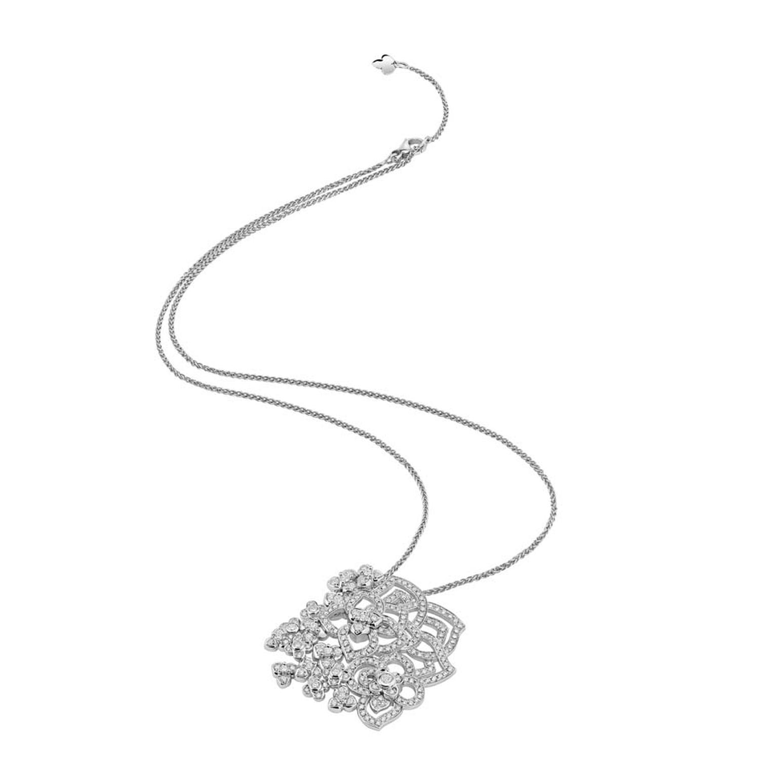 Chaumet Hortensia white gold pendant necklace set with 232 brilliant-cut diamonds.