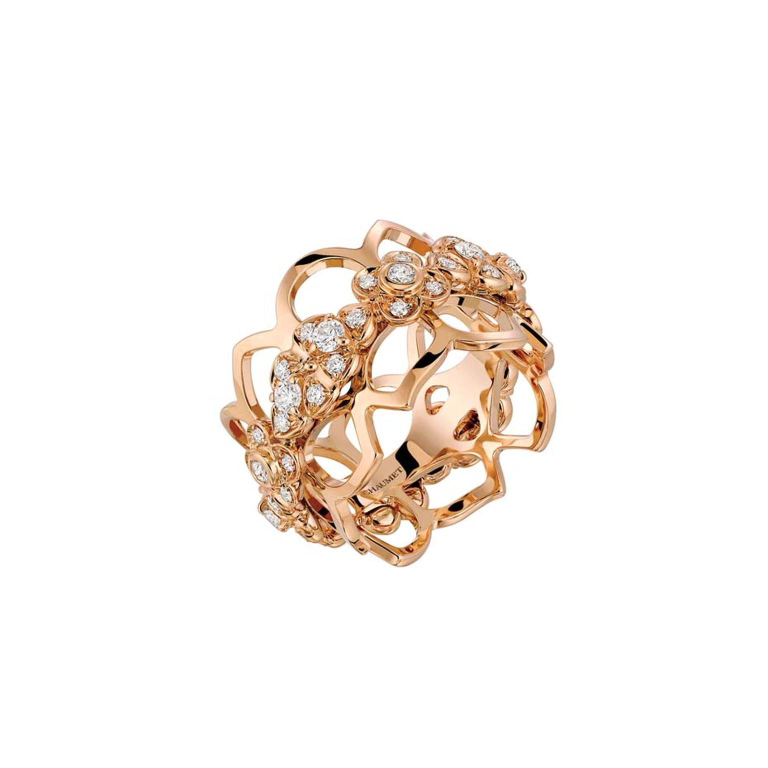 Chaumet rose gold and diamond ring from the Hortensia fine jewellery collection.