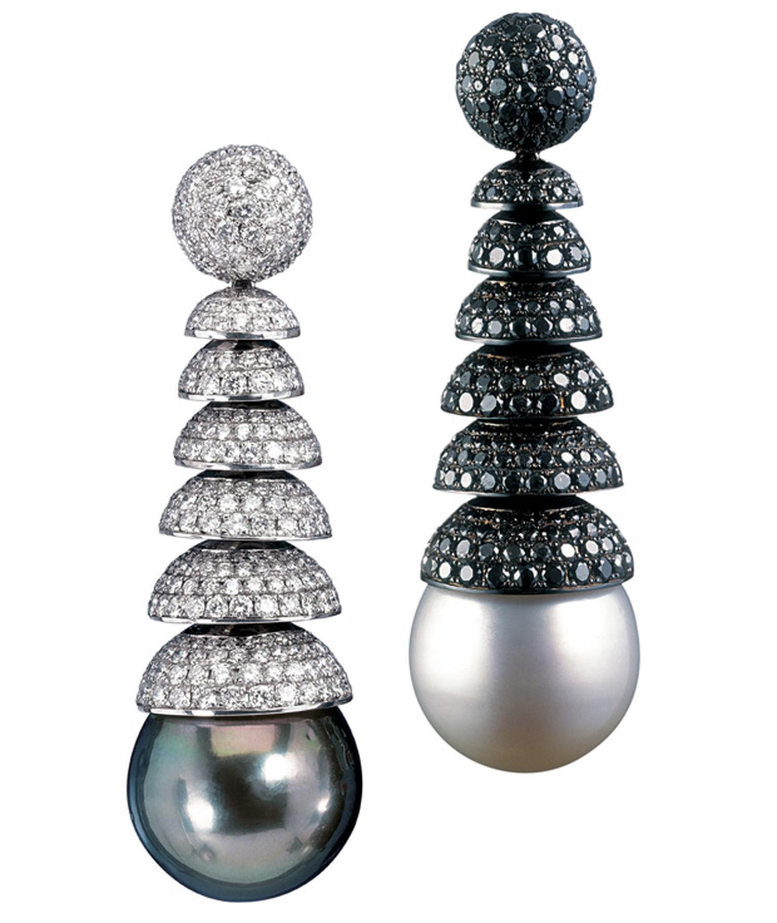 De Grisogono black and white pearl earrings