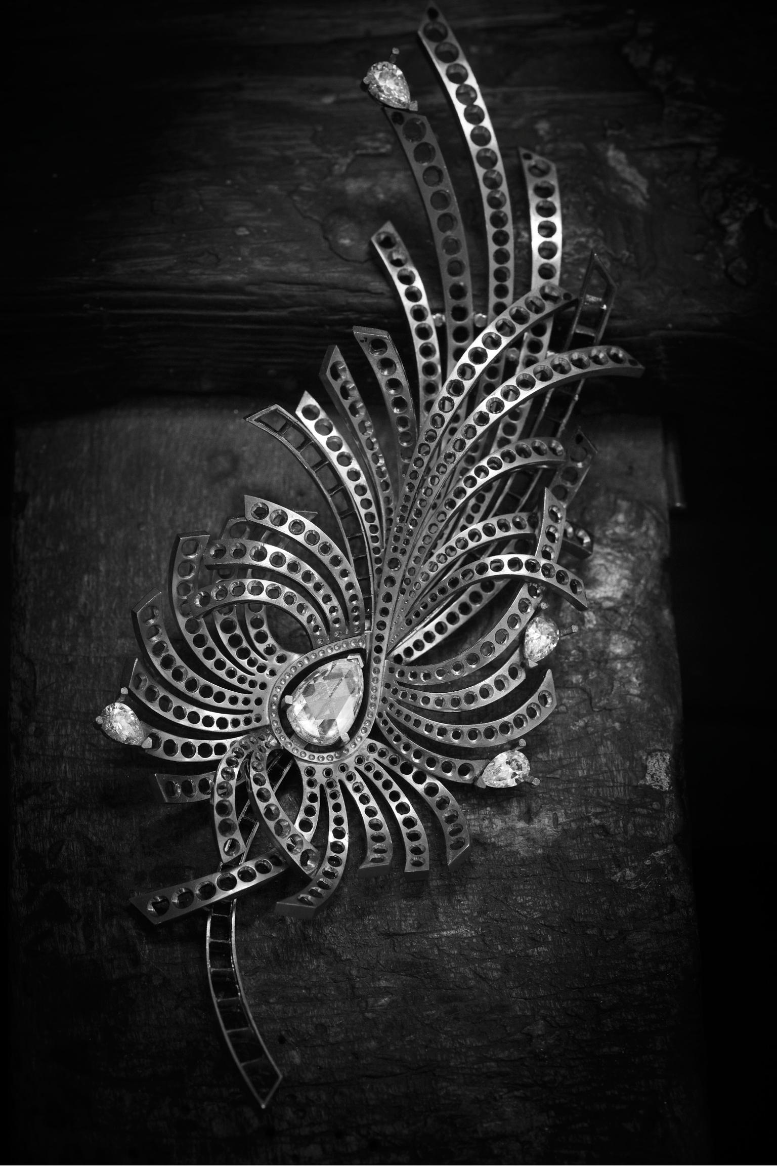 White gold and diamond brooch by Chanel