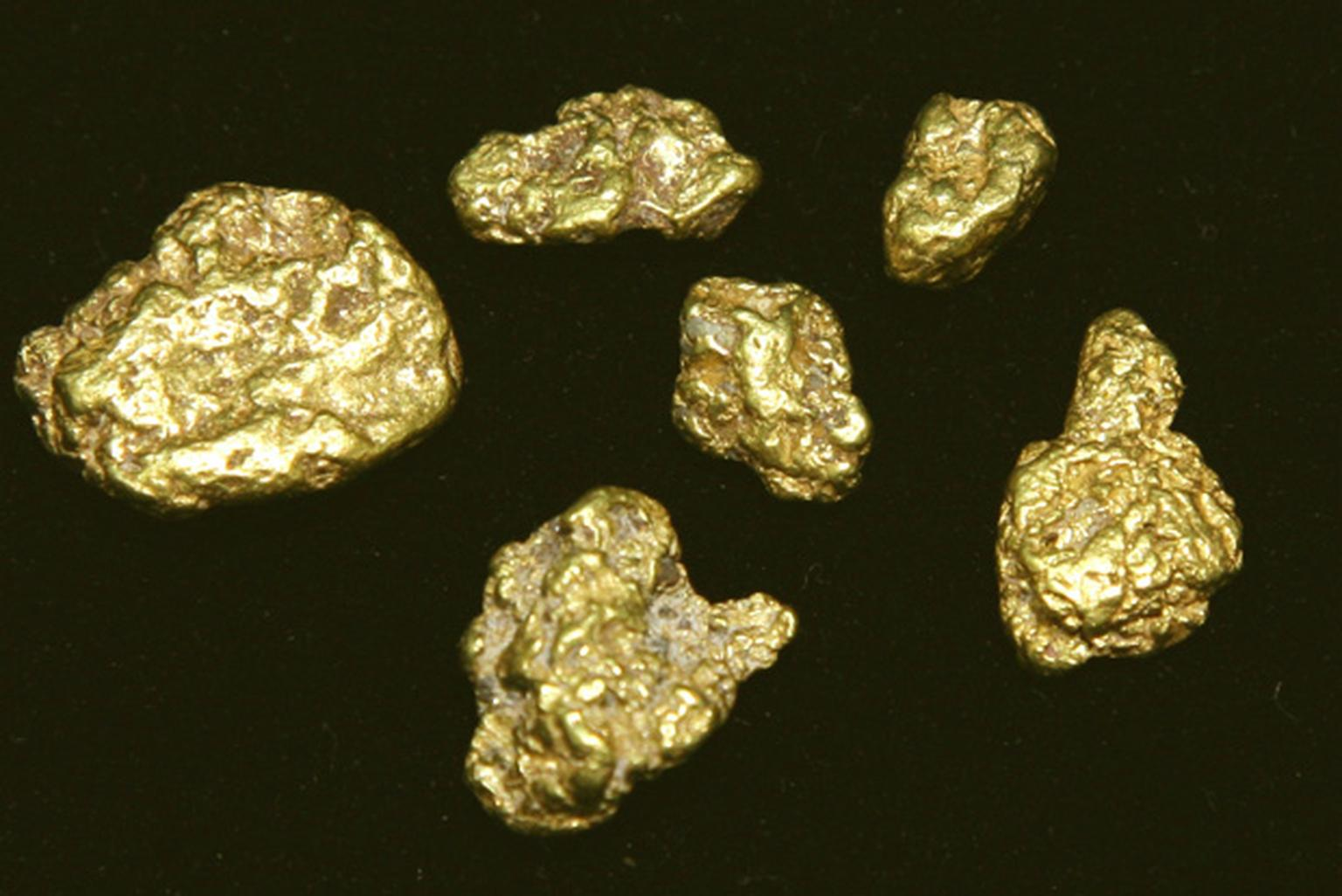Gold nuggets from the Goldlake project in Honduras
