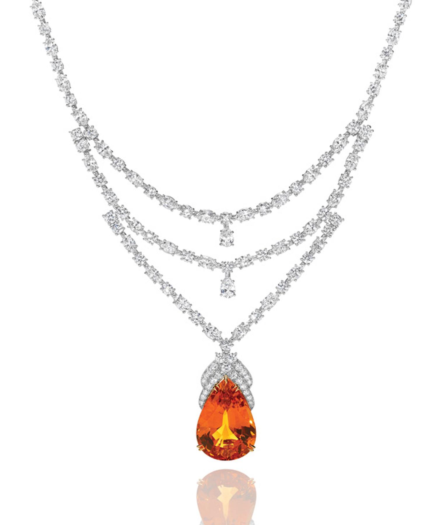 Harry Winston mandarin garnet and diamond necklace