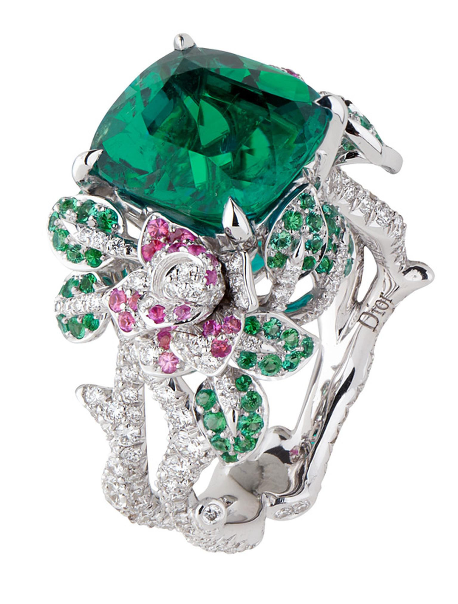 Dior Précieuse Rose ring with emeralds, diamonds and pink sapphires