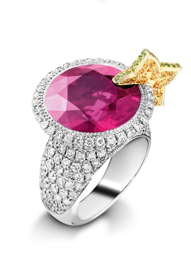Piaget Cosmopolitan inspired cocktail ring with rubelite, diamonds and citrine
