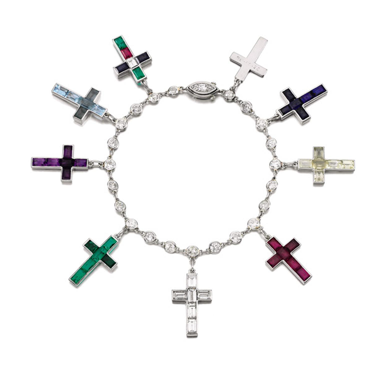 Lot 17 Gem Set and Diamond Cross Bracelet