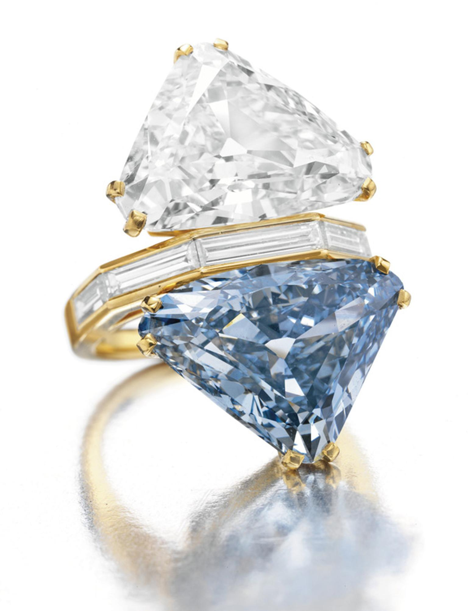 The Bulgari Blue diamond in its  1970-era setting achieved $15,762,500