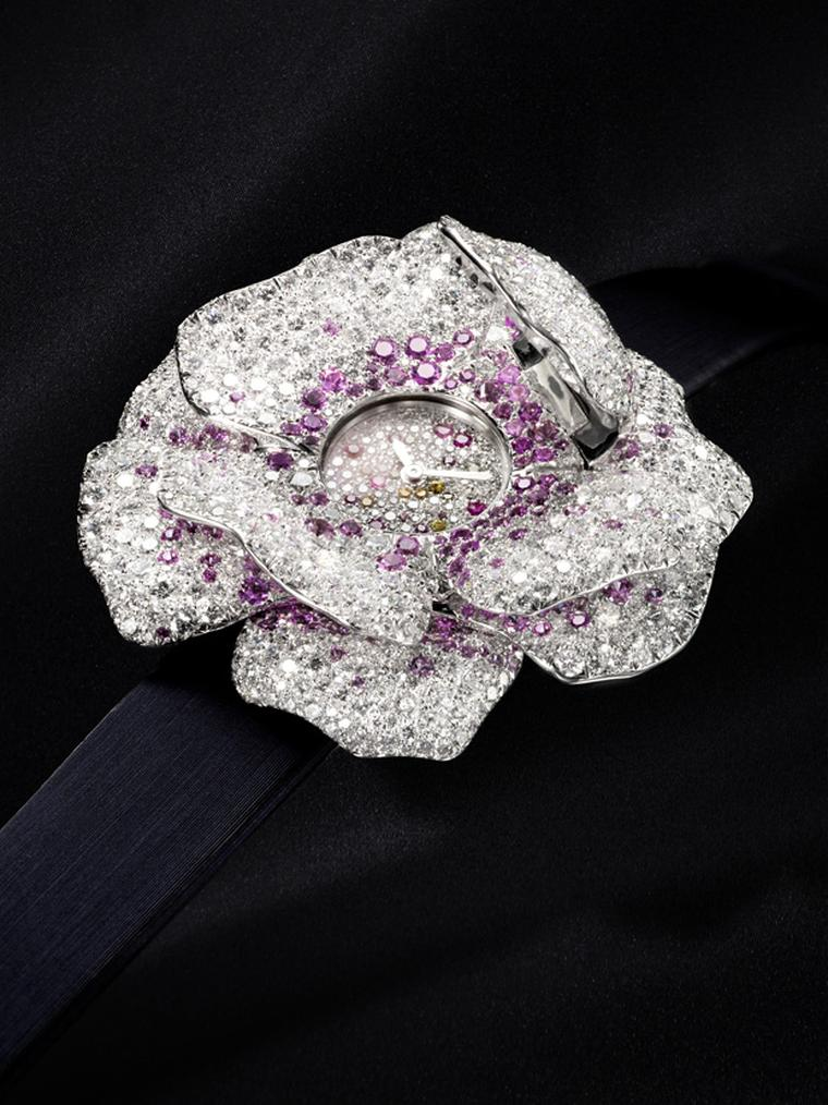Jaeger-LeCoultre La Rose watch set with diamonds and sapphires