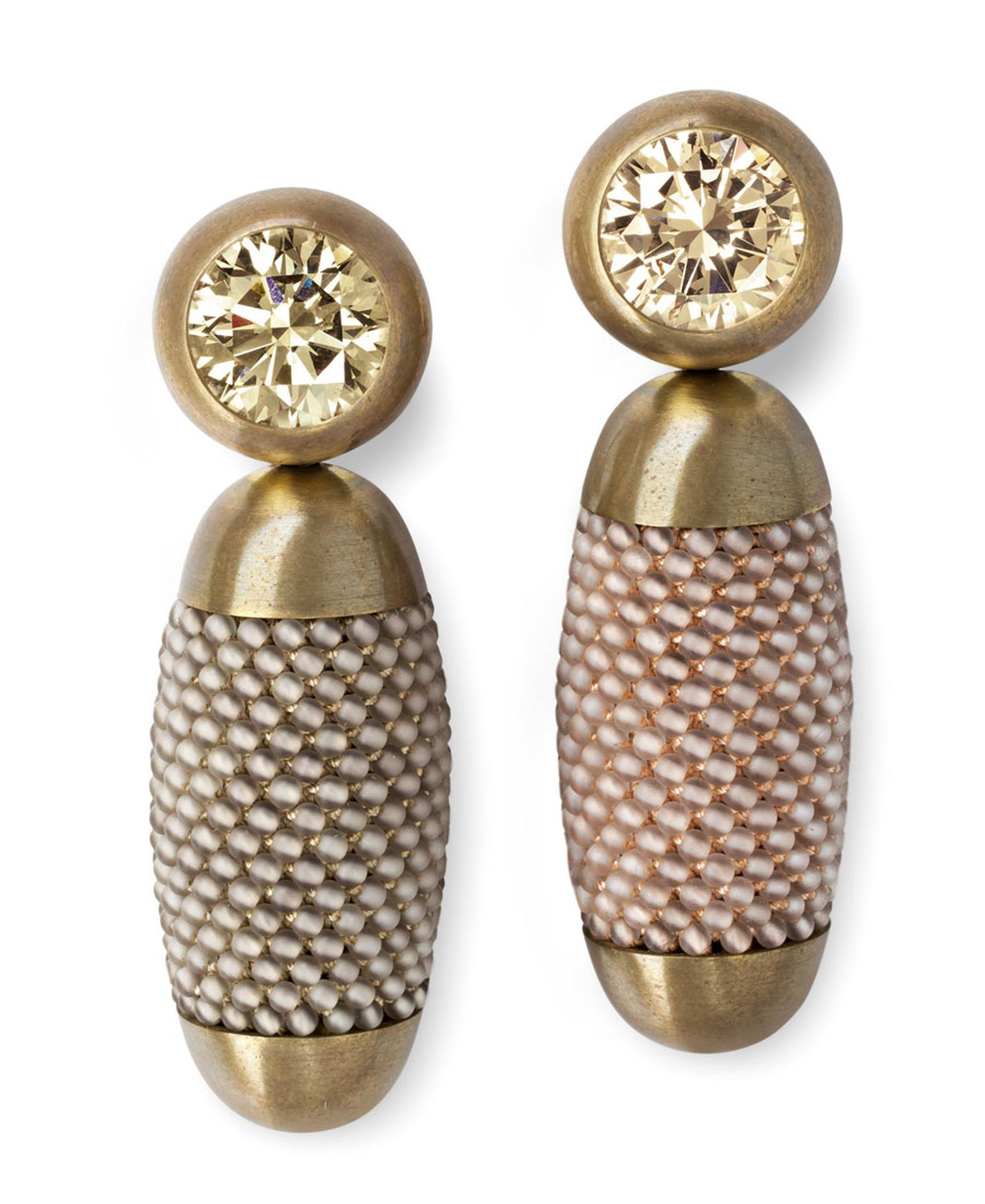 Hemmerle-earrings-brass-white-gold-yellow-brown-diamonds-smoky-quartz-0696