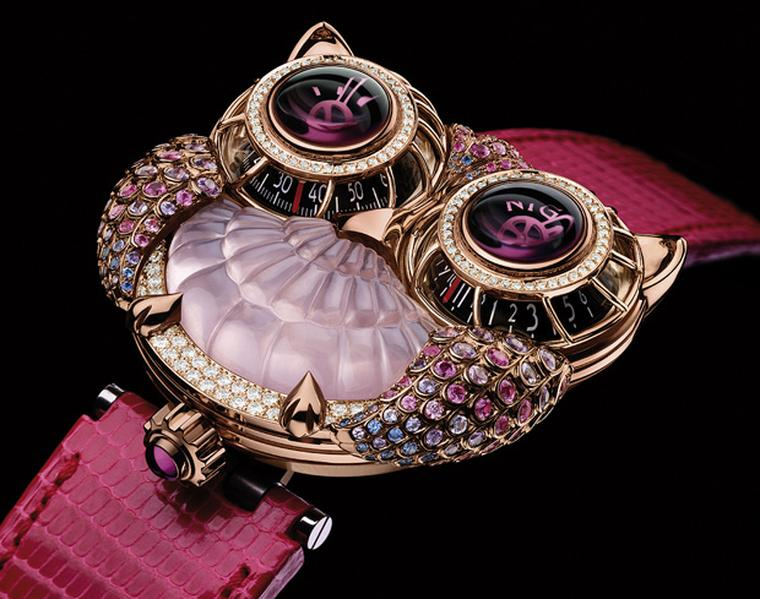 Max Busser's Owl watch in collaboration with Boucheron, pink version