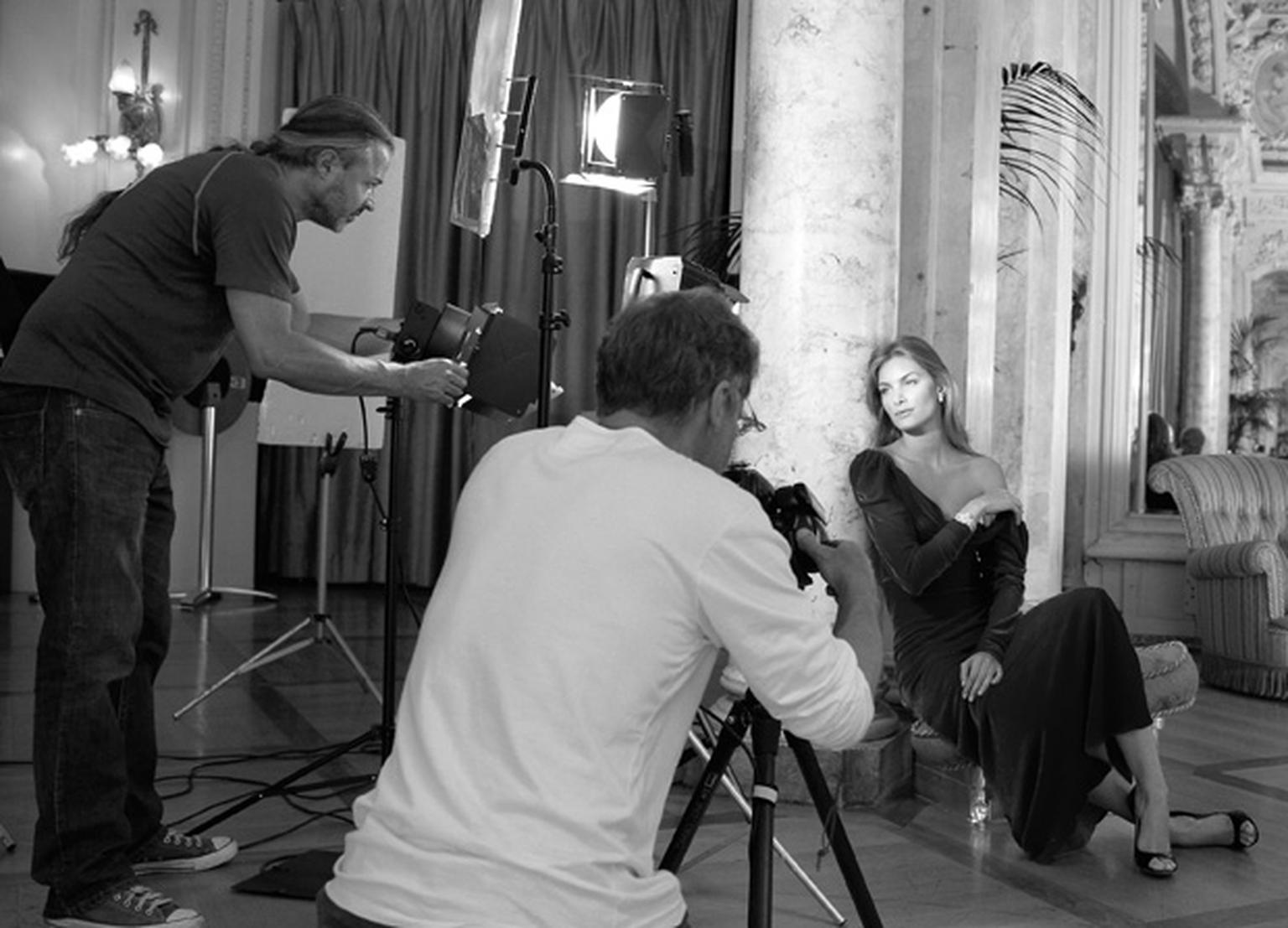 Photographer Christian Coigny and his  team working hard at a natural, spontaneous look