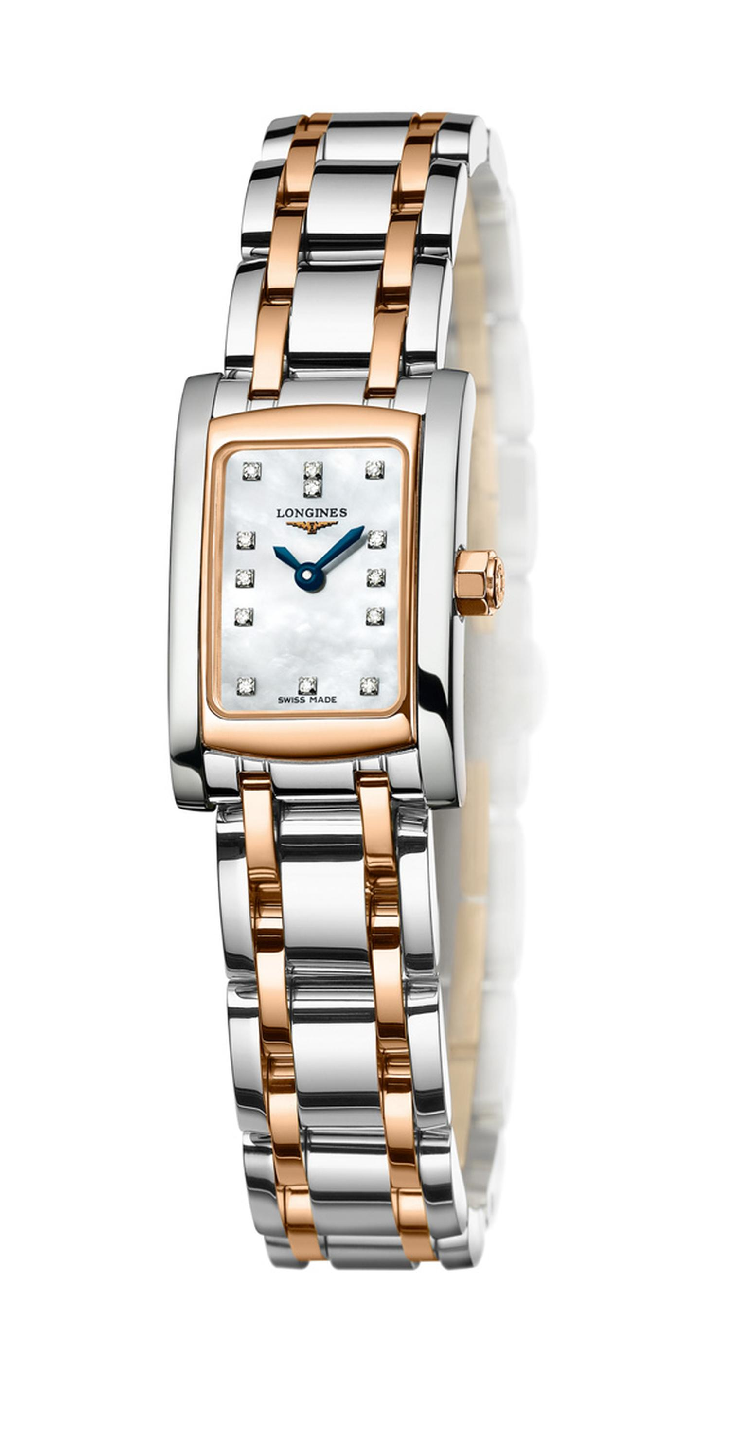 Longines Dolce Vita in steel and rose gold with 13 diamonds on mother of pearl dial