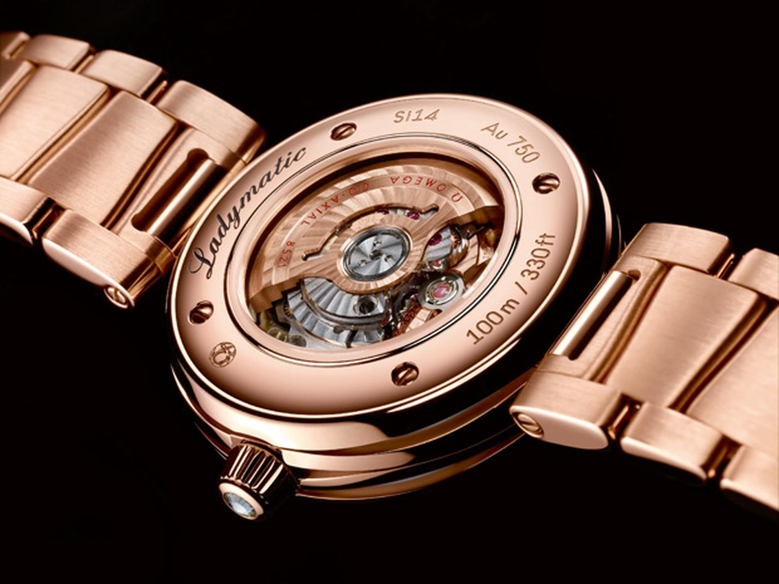 Ladymatic caseback showing the mechanical automatic movement