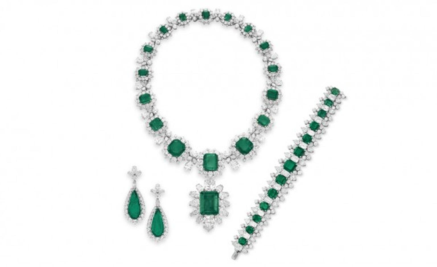 The Elizabeth Taylor Bulgari emerald suite, given to her by Richard Burton. The pendant alone achieved US$6,587,500 at the Christie's auction of Elizabeth Taylor's estate in 2011. The ring sold for approximately US$3 million, the necklace for around US$6