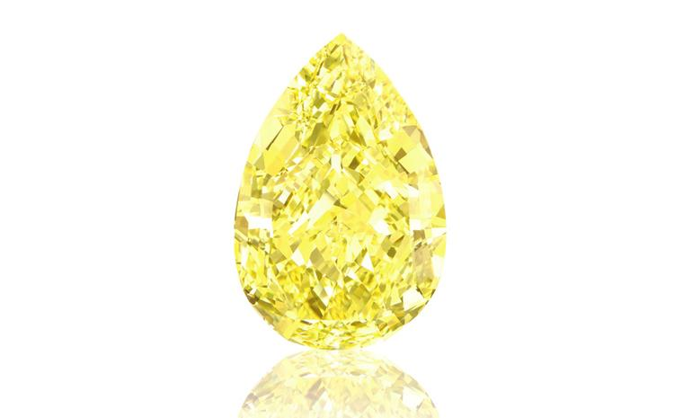 The 110.03 carat Fancy Vivid Yellow Sun Drop diamond for sale by Sotheby's in Geneva on 11 November.   Estimated value between $ 11-15 million.