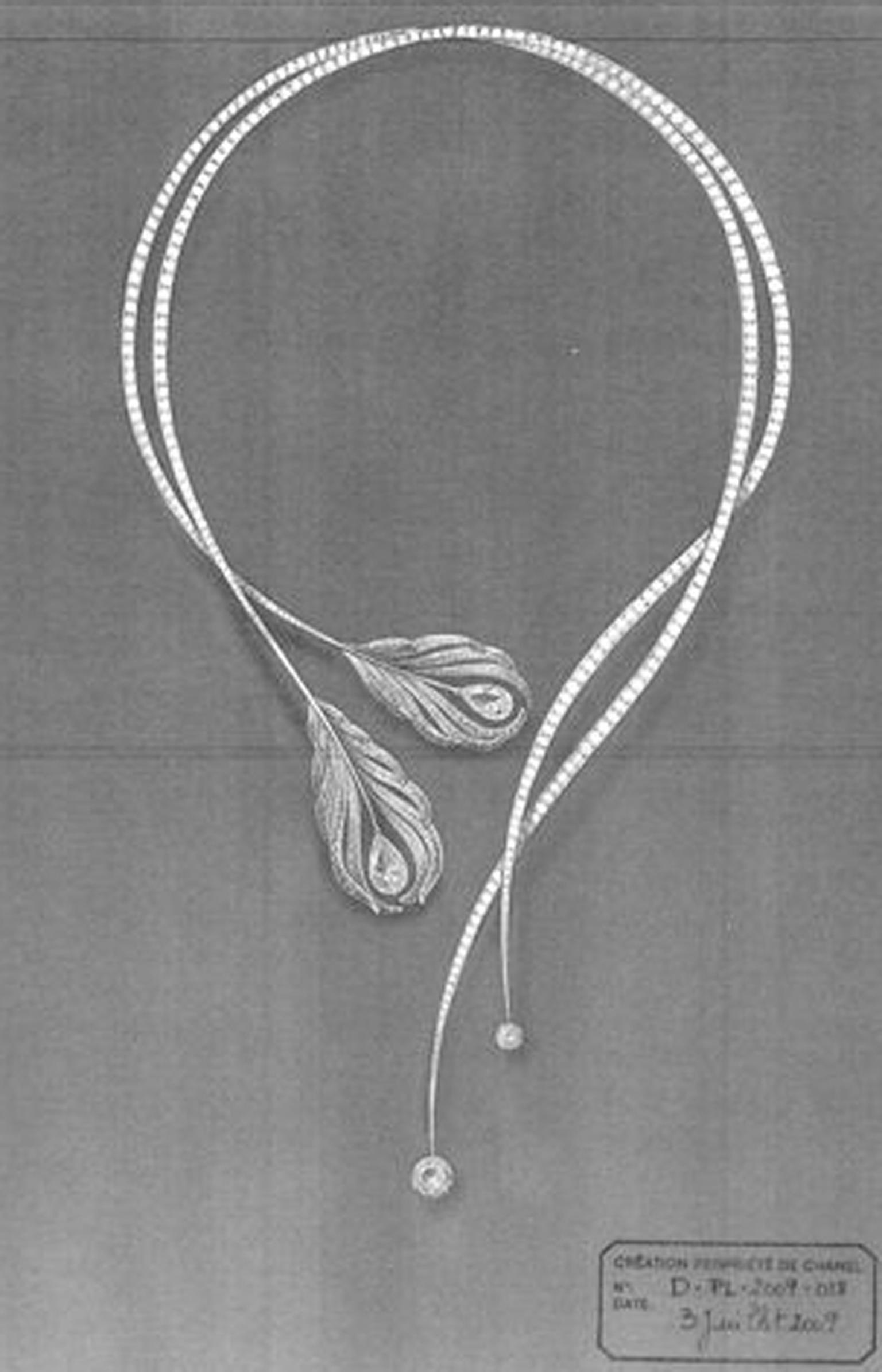Sketch of Chanel Plume necklace from the 2010 high jewellery collection