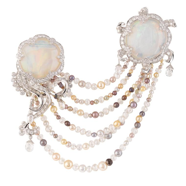Van Cleef & Arpels Meduse Lune clip with opals and pearls