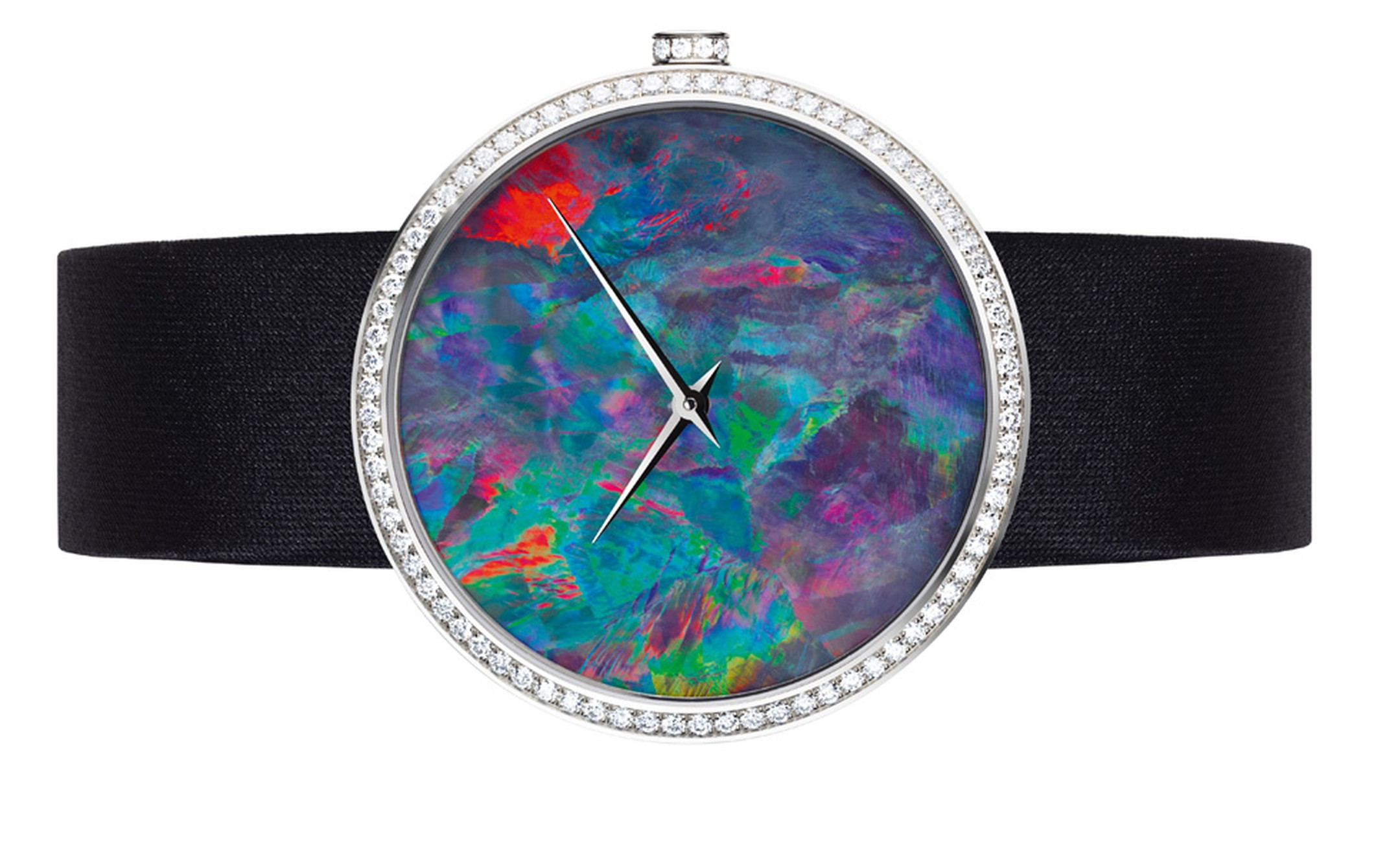 La D de Dior watch with opal dial and diamonds
