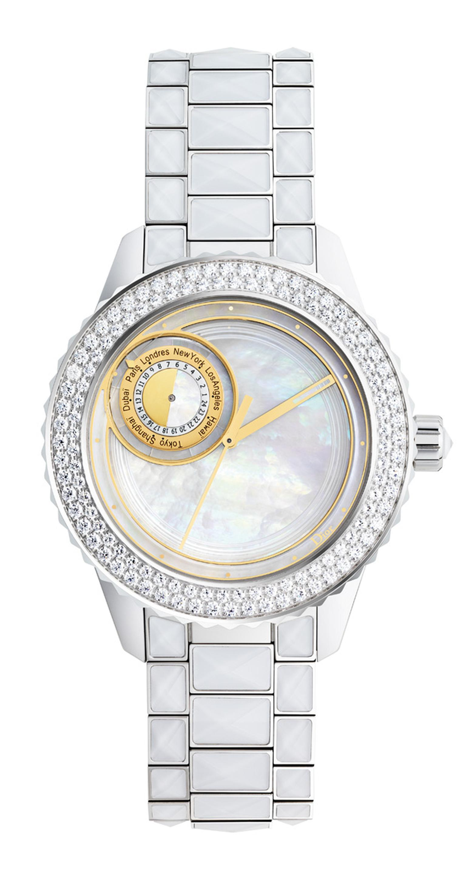 Dior Christal 8 watch with mother of pearl dial