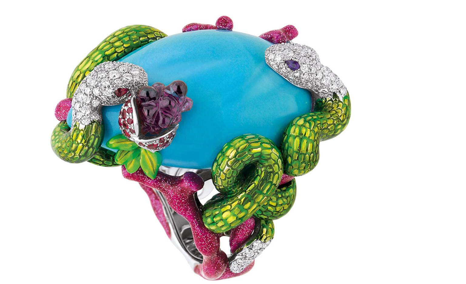 Dior high jewellery ring with enamelled snake