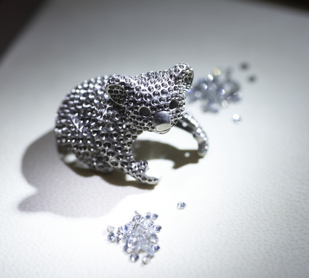 Gold base of Chopard's Koala ring waiting to be set with gems