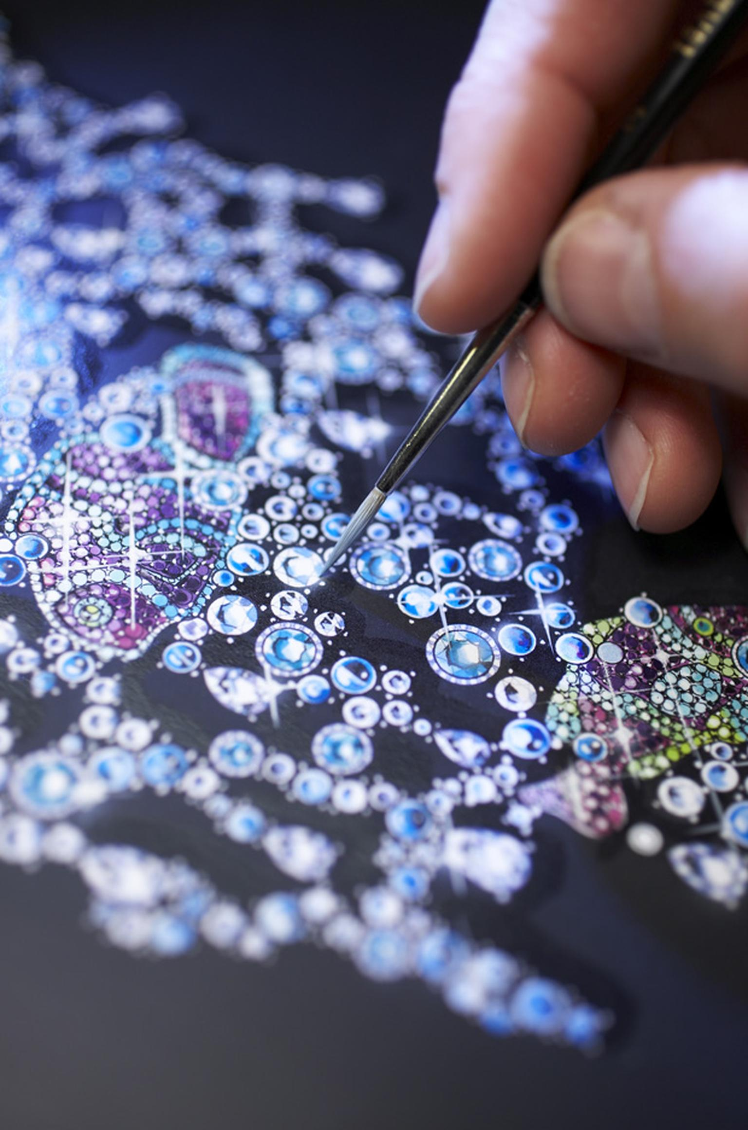 Detail of watercolour of Chopard Clownfish plastron