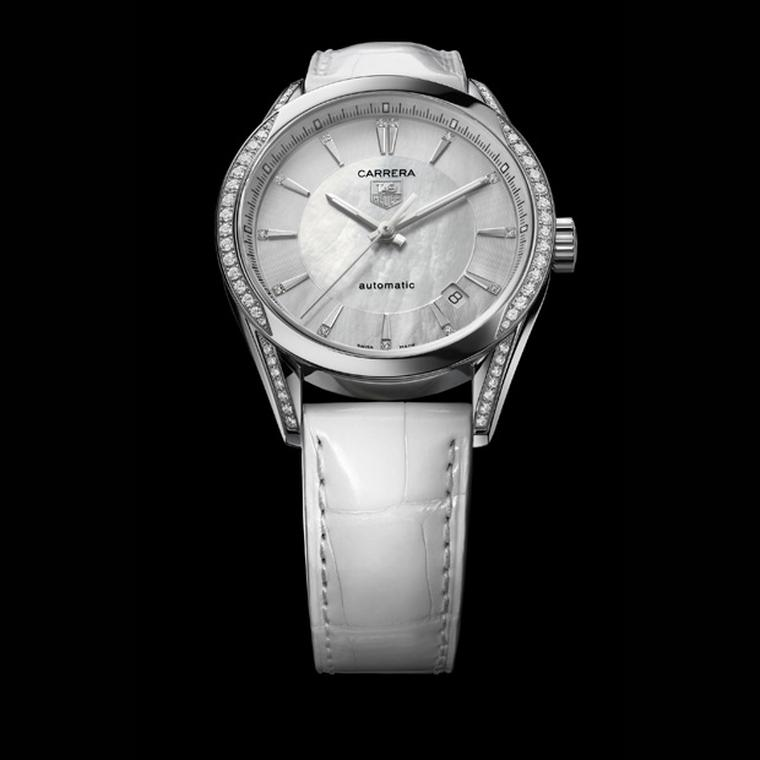 TAG Heuer Carrera with diamond and mother of pearl dial