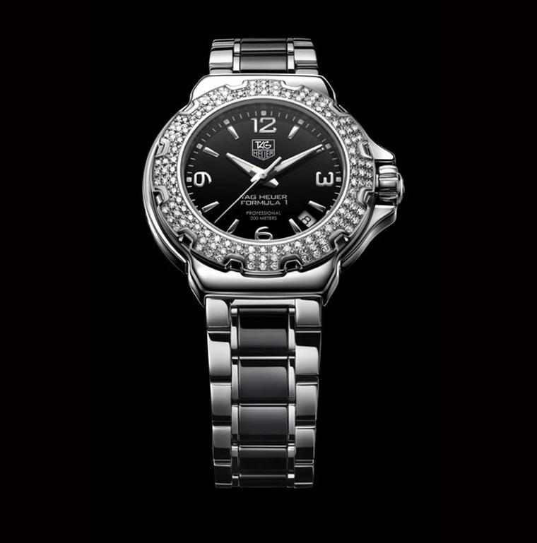 TAG Heuer Formula One with diamond set bezel and ceramic bracelet